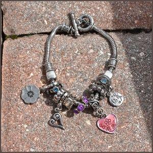 Pretty Silver Multi Charm Bracelet